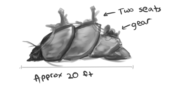 An insect mount for two medium creatures and their gear.